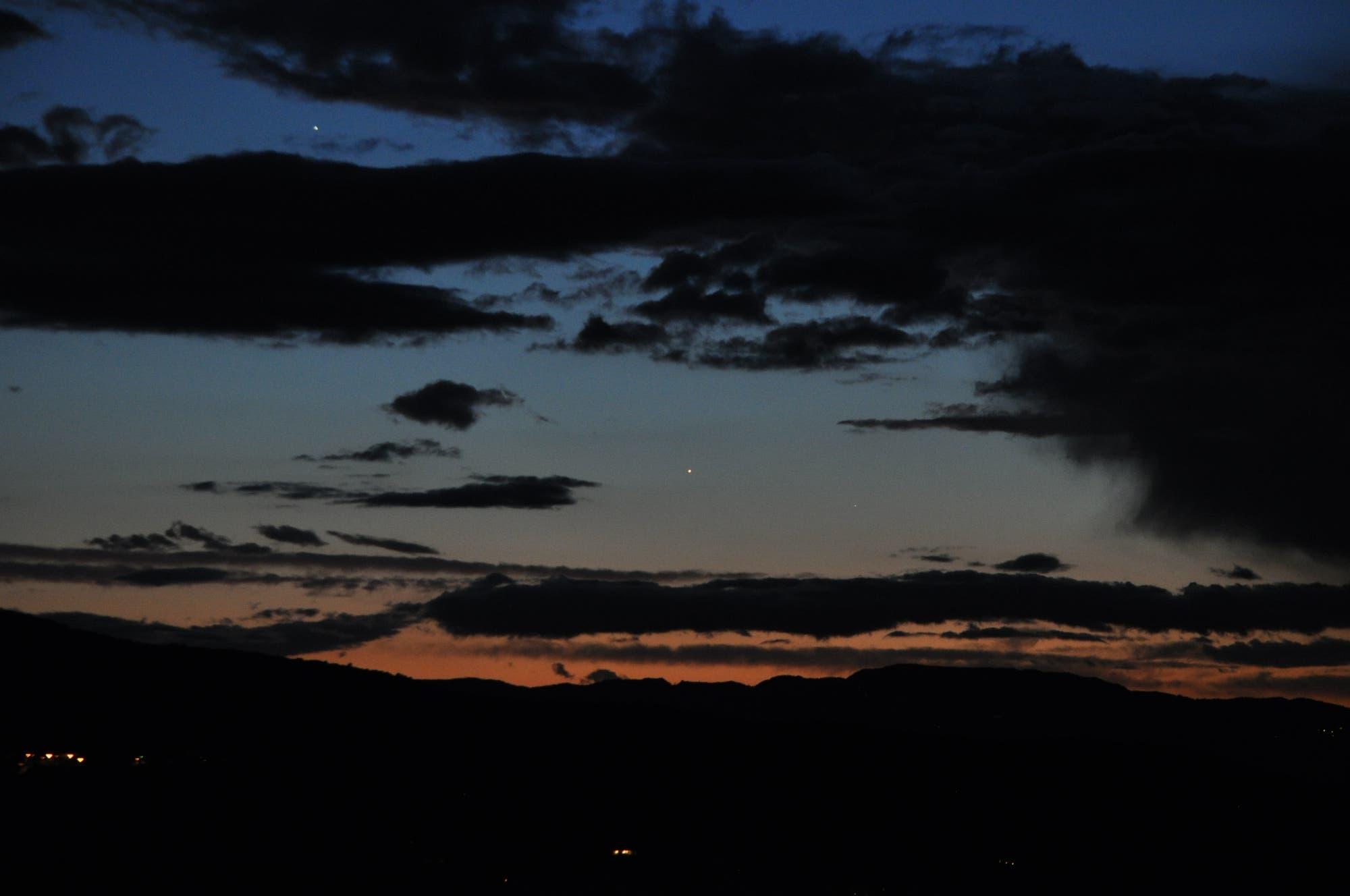 Jupiter, Venus und Merkur in der Abenddämmerung 2