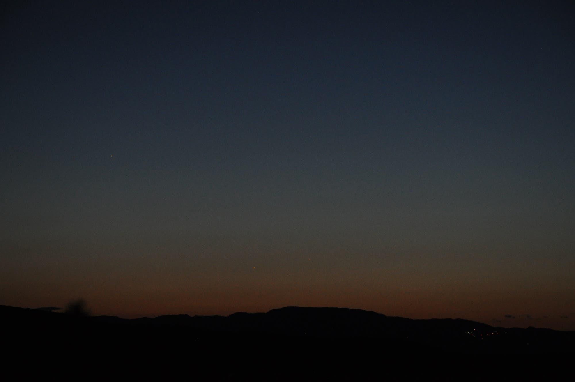 Jupiter, Venus und Merkur in der Abenddämmerung3