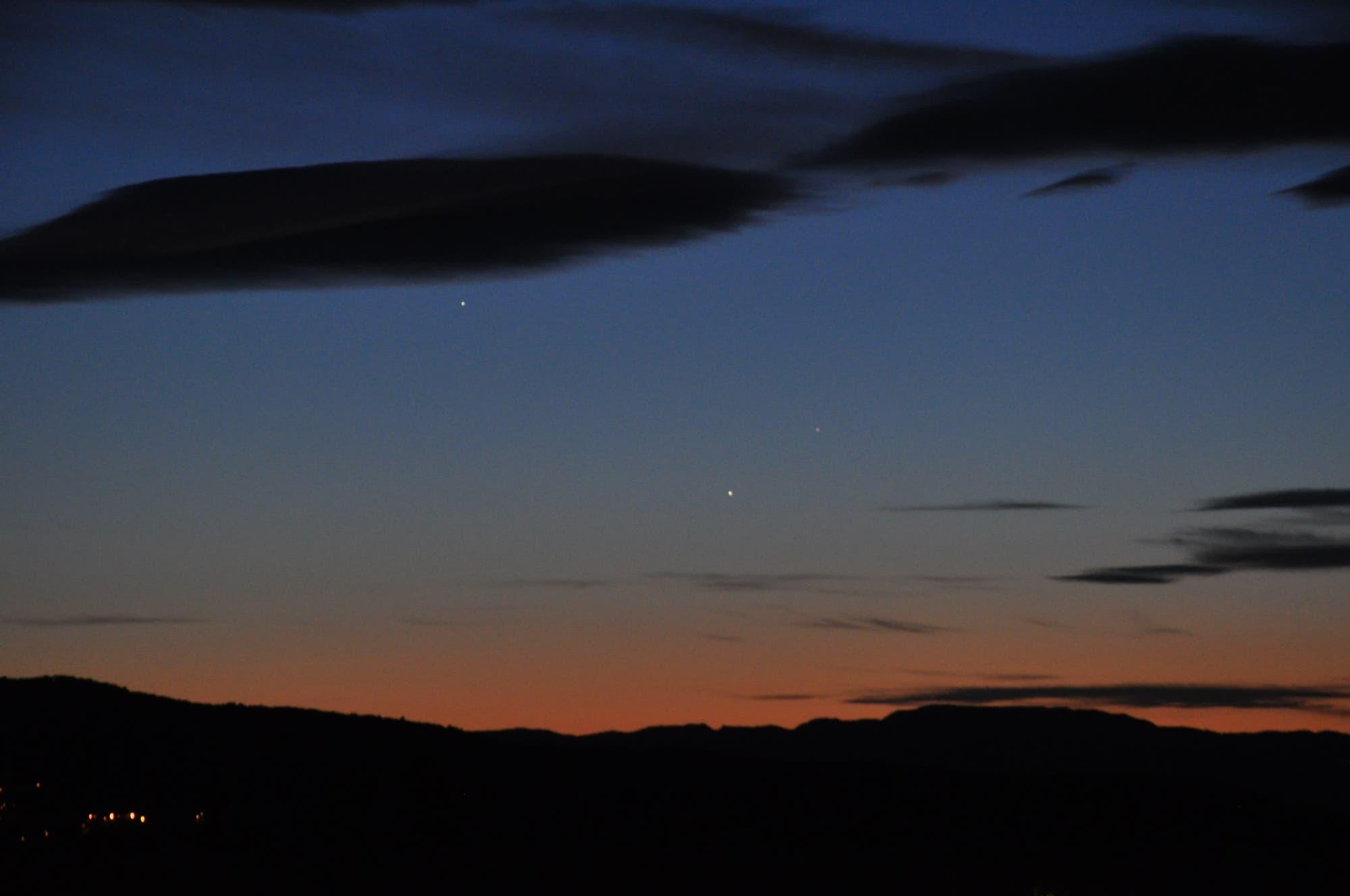 Jupiter, Venus und Merkur in der Abenddämmerung 4