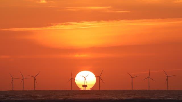 Sonnenuntergang über der Nordsee von Borkum am 6. Juli 2018