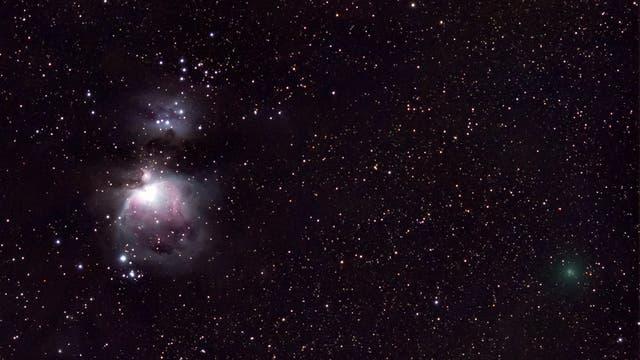 Komet C 2020 M3 neben Orionnebel