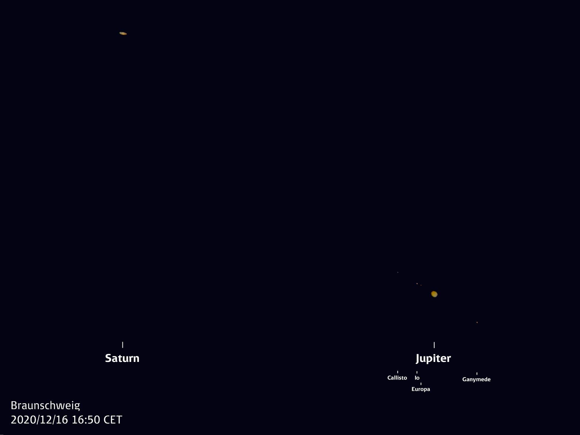 Jupiter und Saturn im selben Blickfeld