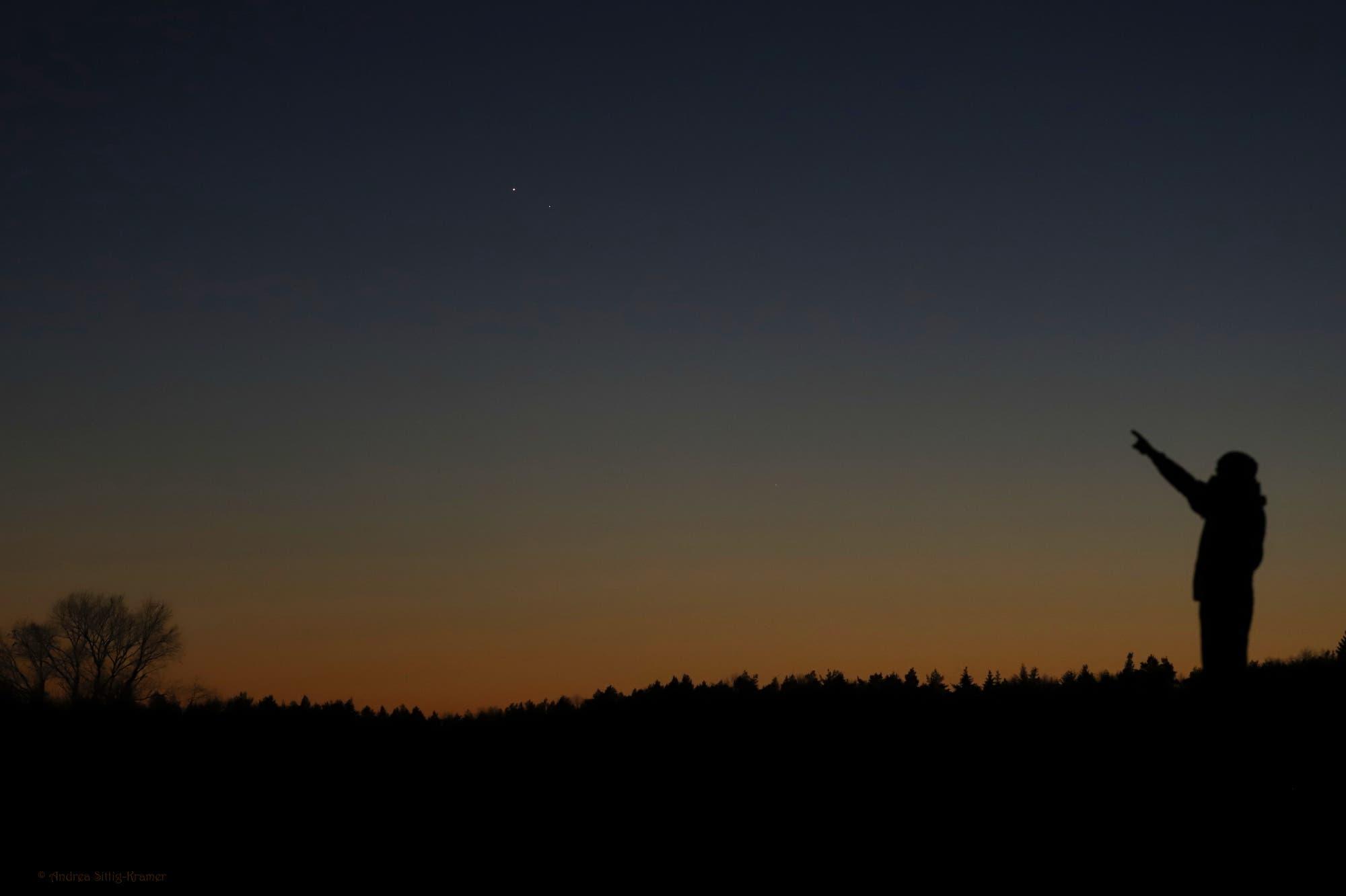 Saturn und Jupiter am Weihnachtsabend 2020 über Uelzen