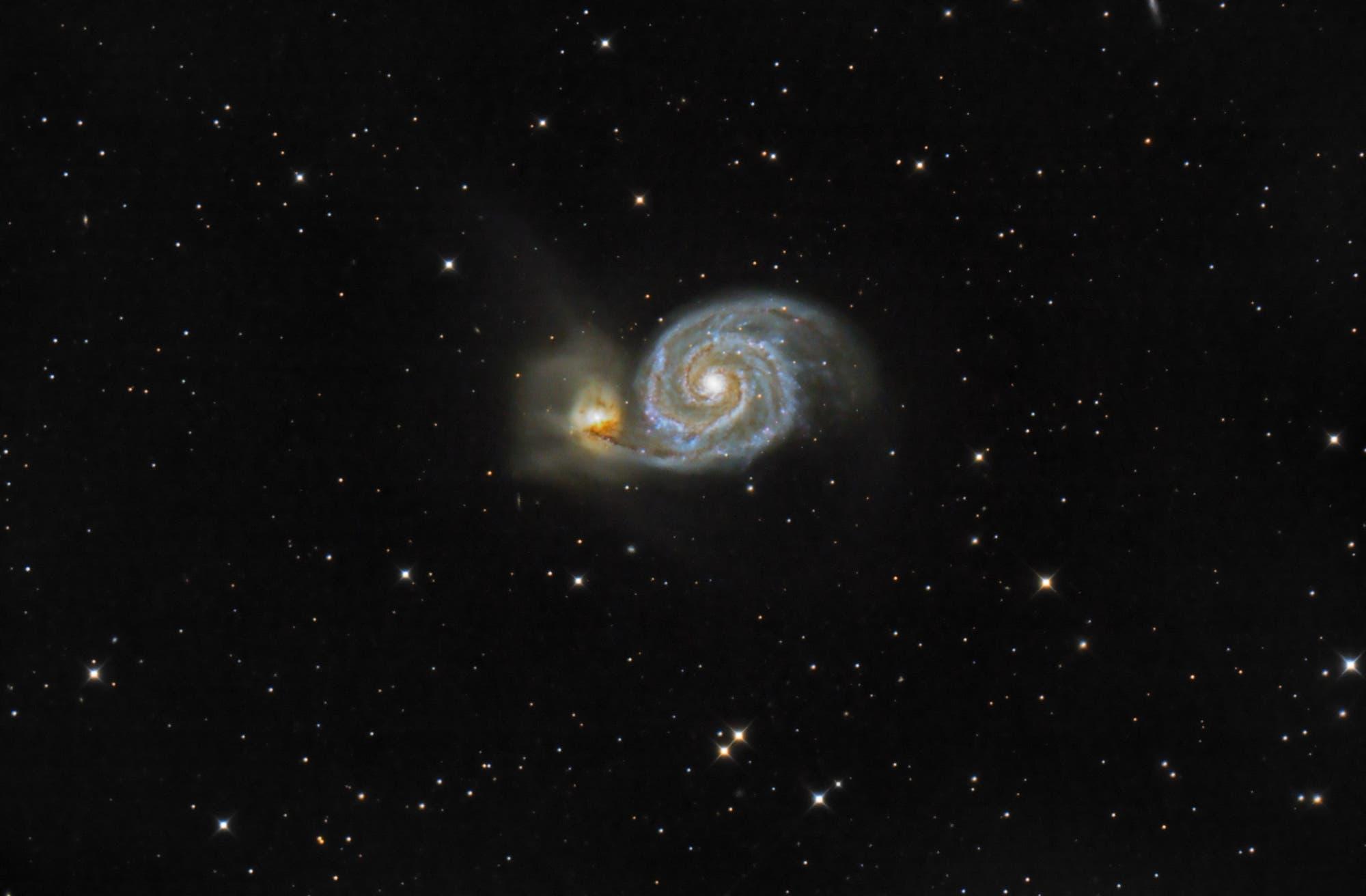 »Whirlpool-Galaxie« mit mehr Schweif