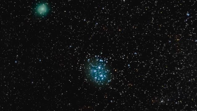 Komet P 46 Wirtanen und Messier 45