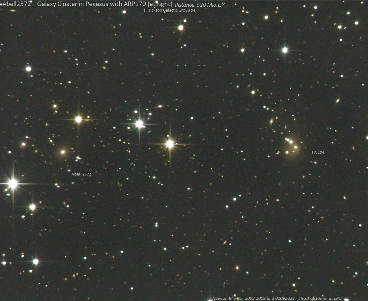 Abell 2572 mit ARP170 (Hickson Compact Group 94)  in Pegasus