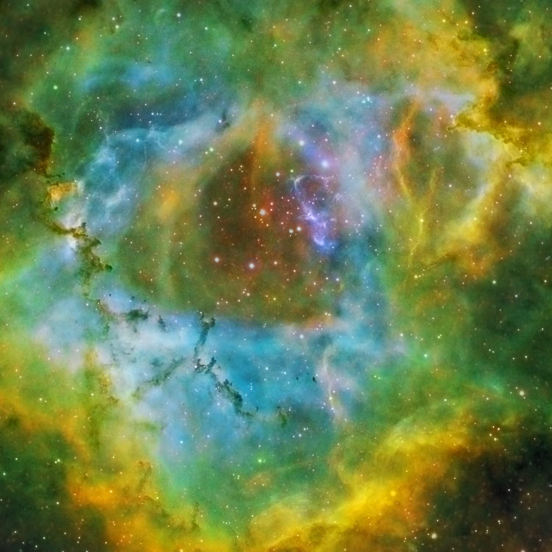 NGC 2244 in Hubble-Palette 100 % Crop des Zentrums