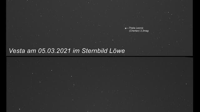 Vesta unterwegs im Sternbild Löwe