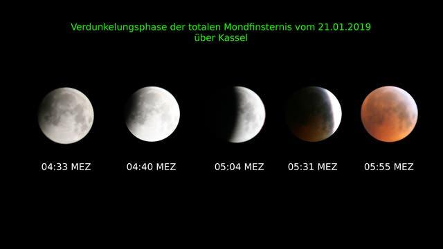 Collage der Mondfinsternis vom 21. Januar 2019 über Kassel