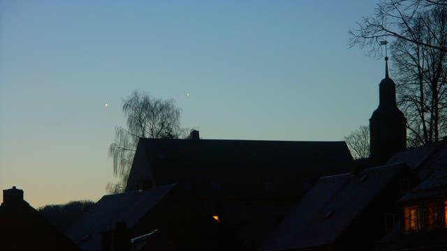 Venus und Jupiter in der Morgendämmerung