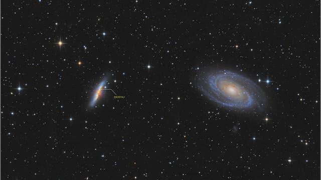 Messier 81 und 82 inklusive Supernova (SN 2014J)