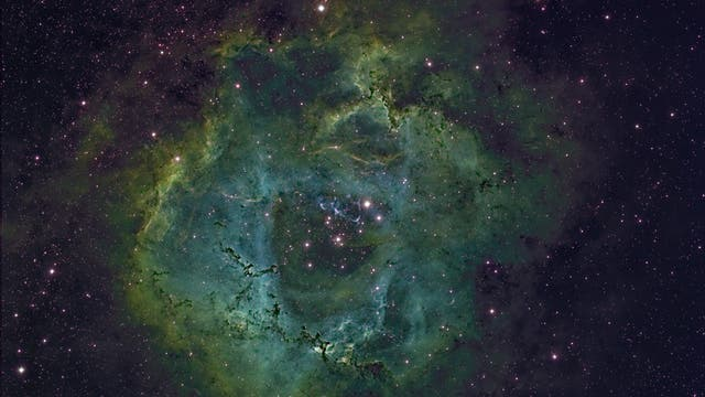 Rosettennebel mit Hubble-Palette
