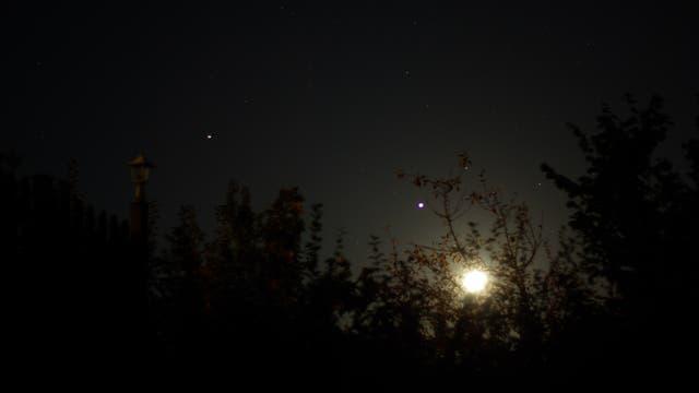 Mond und die Riesenplaneten Jupiter und Saturn