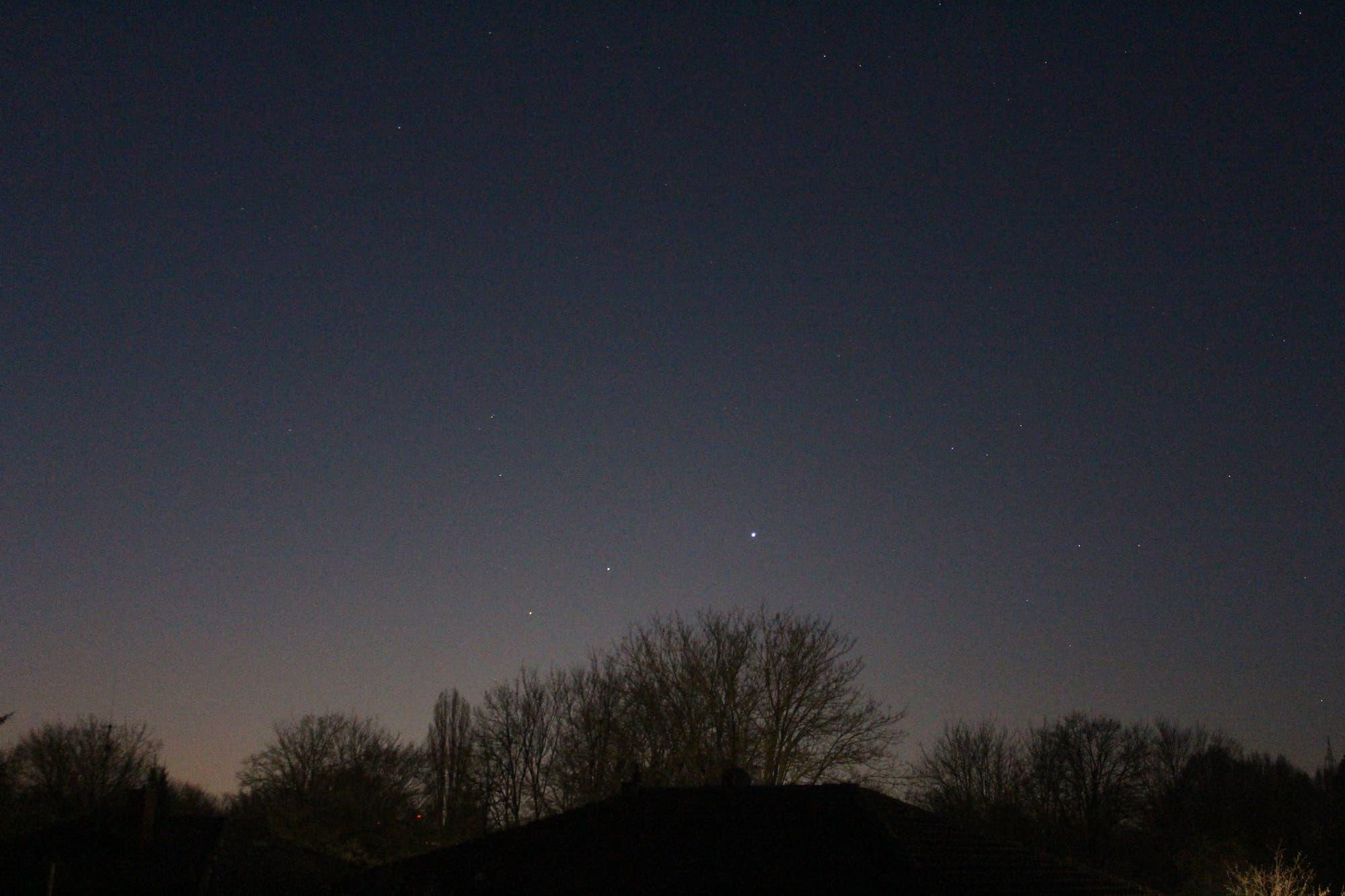 Mars, Jupiter und Saturn am Morgenhimmel