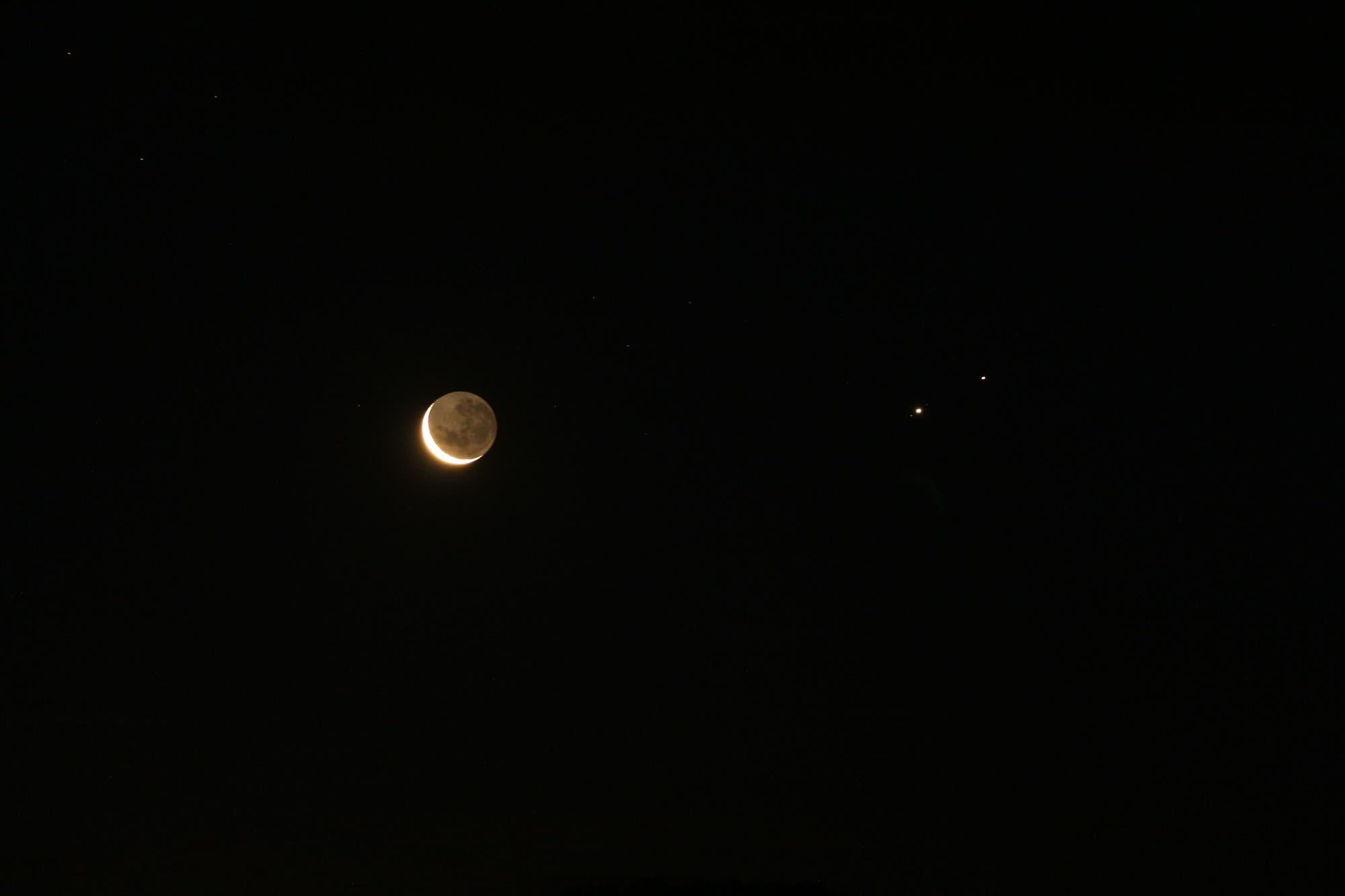 Mond, Jupiter und Saturn am 17. Dezember 2020 - 2