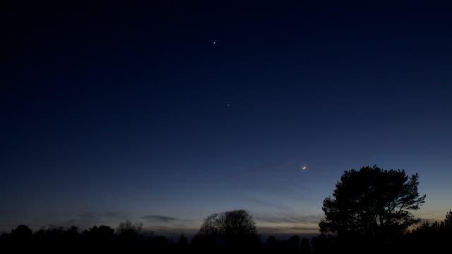 Mond, Jupiter und Venus am 24.3.2012