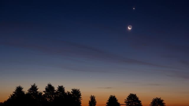 Mond, Regulus, Venus, Merkur und Mars