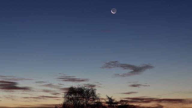 Mond mit Erdlicht und Merkur