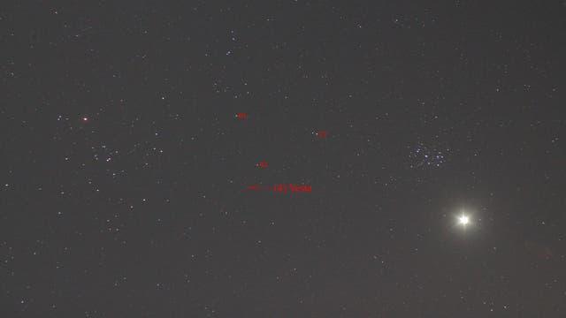 Plejaden, Venus und (4) Vesta