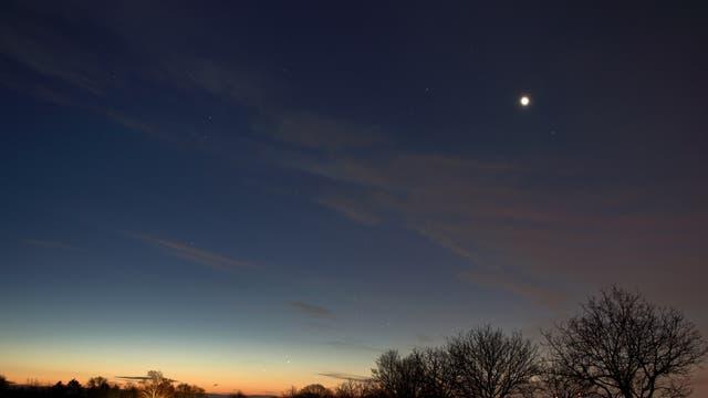 Venus, Jupiter und Merkur am Morgenhimmel des 23. Dezember 2018