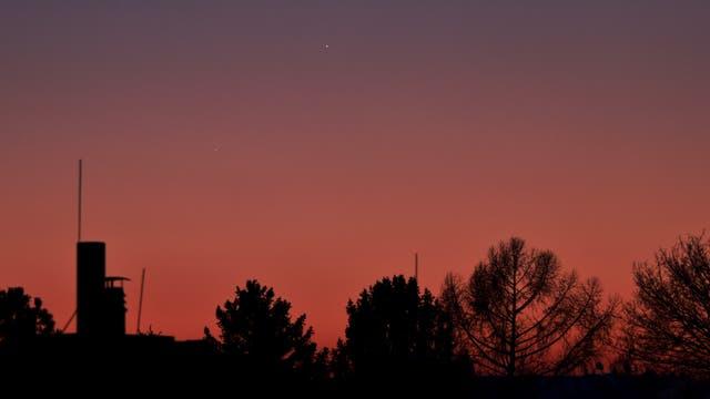 Jupiter, Merkur und (gerade noch) Saturn