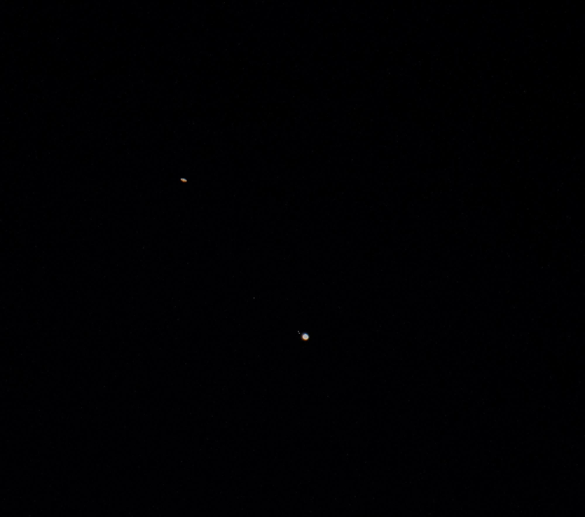 Saturn und Jupiter in einem Foto