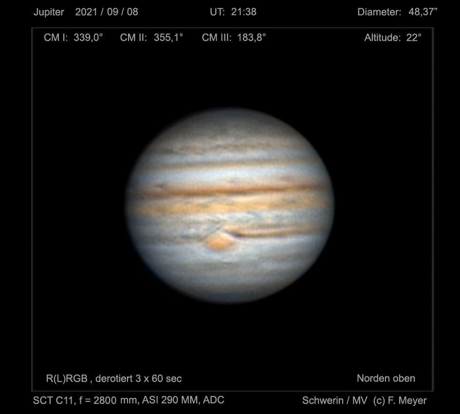 Jupiter mit dem GRF am 8. September 2021