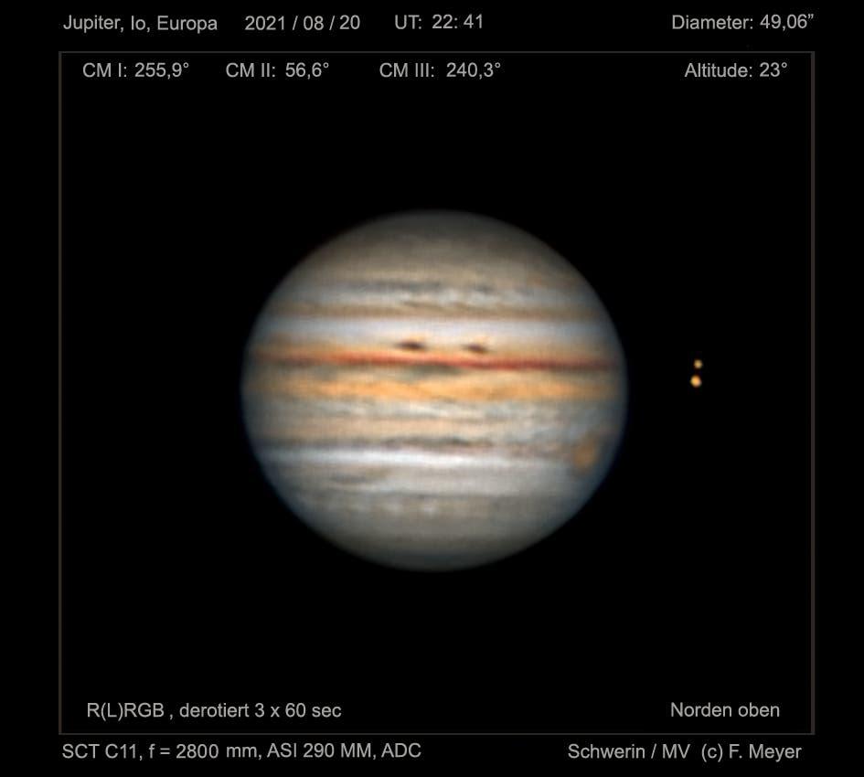 Jupiter, Io und Europa in der Nacht vom 20. zum 21. August 2021