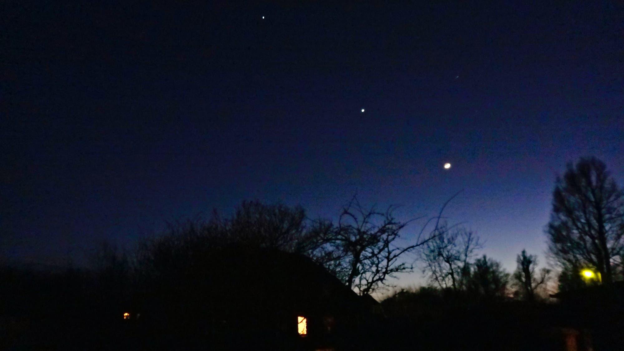 Jupiter, Venus und Mond