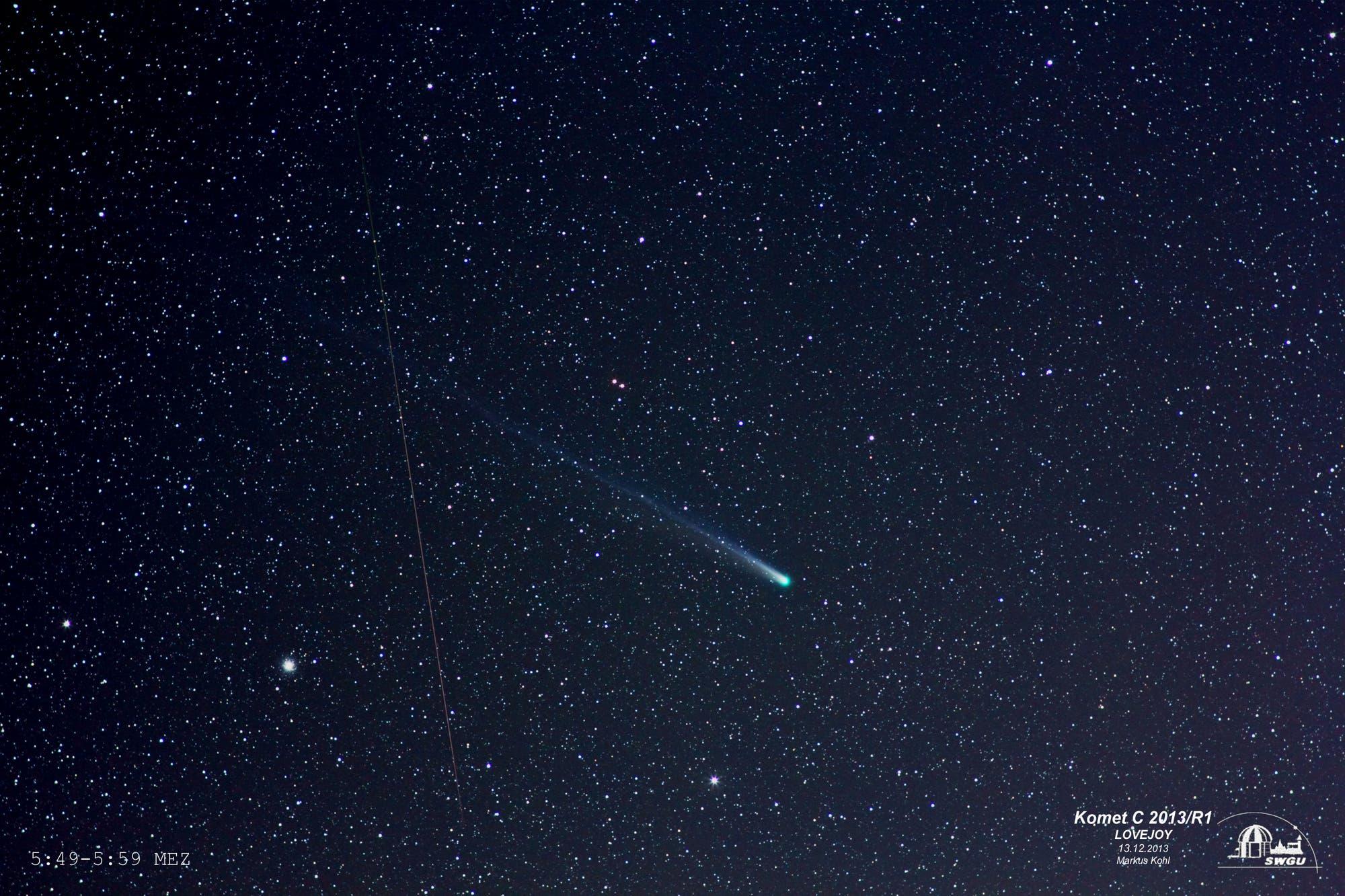 Komet C2013/R1 Lovejoy mit Geminiden-Meteor