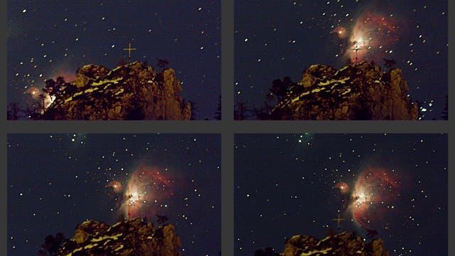 Orion-Nebel Messier 42 geht über Falkenstein auf