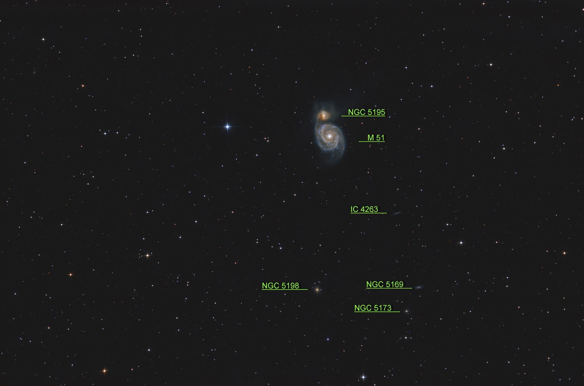 Messier 51, Whirlpool-Galaxie (Objekte)
