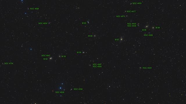 Messier 90 und Markarian Galaxienkette - 2