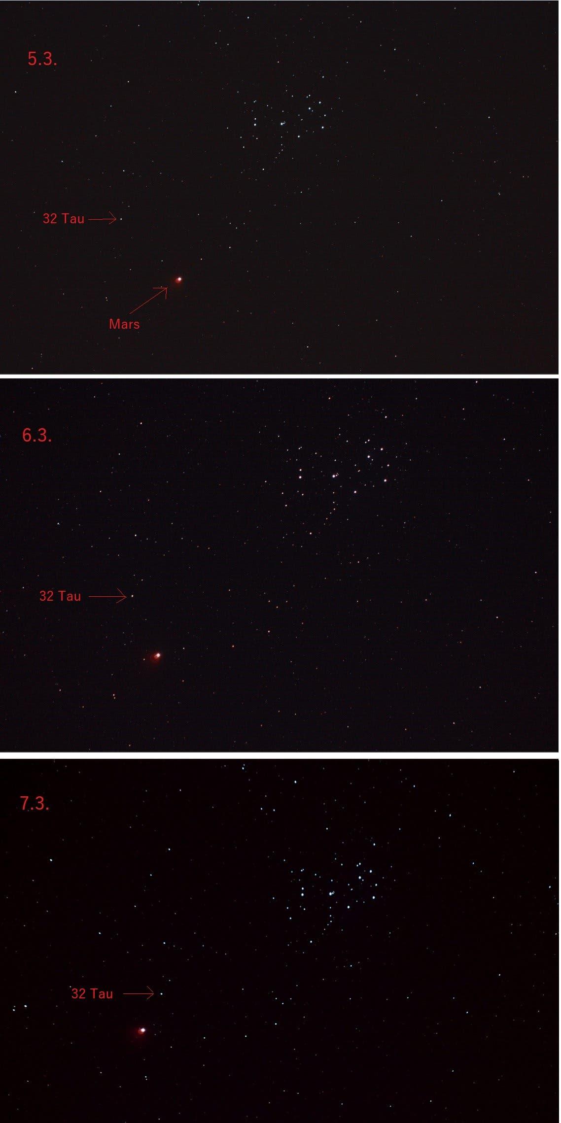 Mars bei Messier 45 am 5.,6. und 7. März 2021