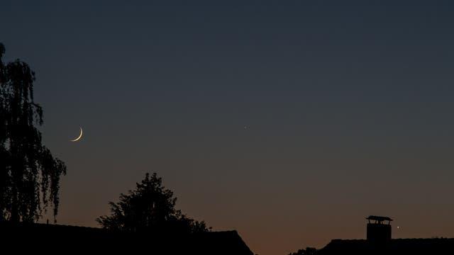 Venus - Merkur - Mondsichel am Abendhimmel