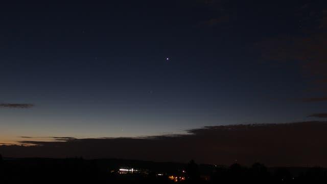 Merkur, Venus, Regulus und Mars am Morgenhimmel