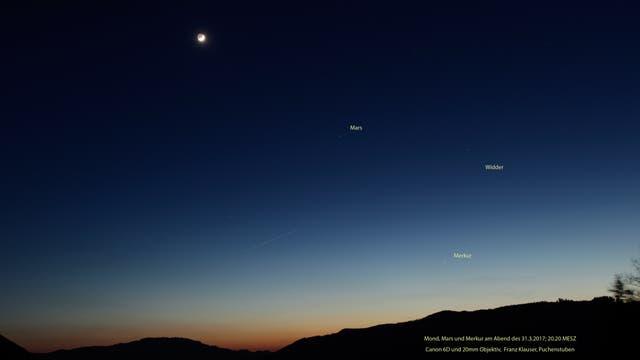 Mond, Mars und Merkur