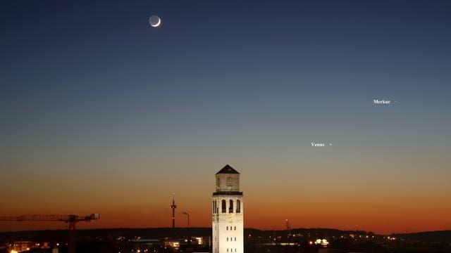 Mond mit Venus und Merkur