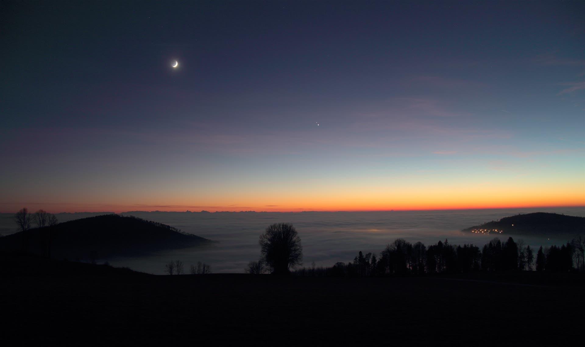 Jupiter und Saturn drei Tage vor der Konjunktion