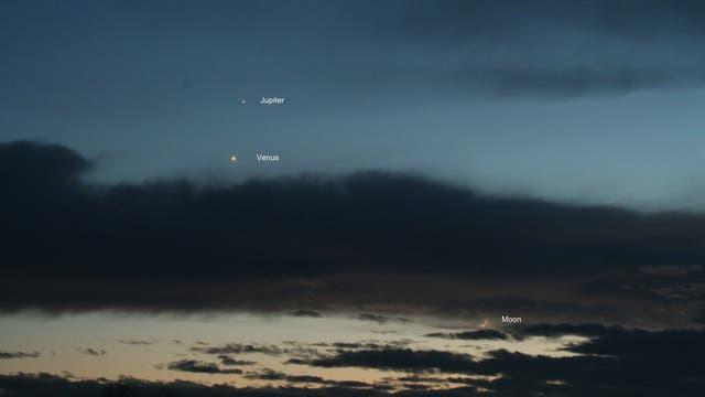 Venus Jupiter und Mond