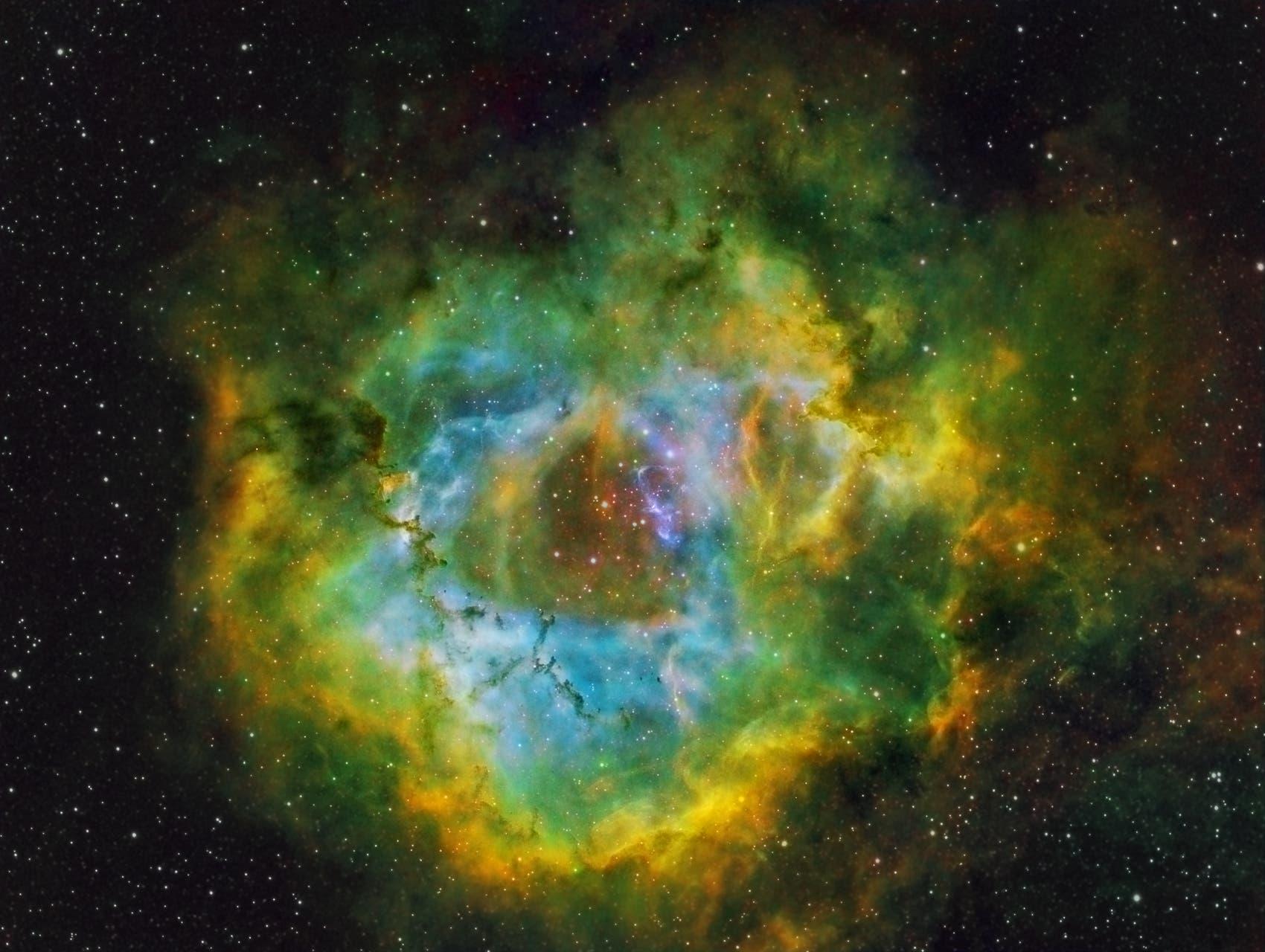 NGC 2244 Rosettennebel in Hubble-Farben-Tonemapping