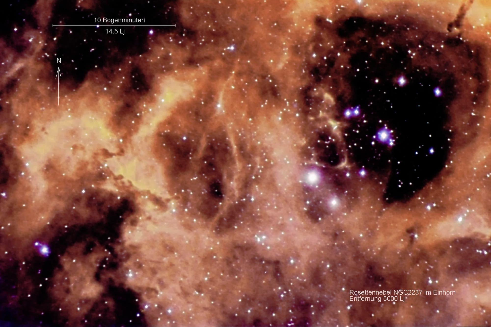 Rosettennebel NGC 2237 mit offenem Sternhaufen NGC 2244