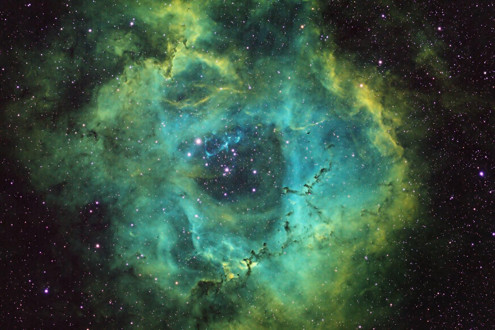 Rosettennebel in der Hubble-Palette
