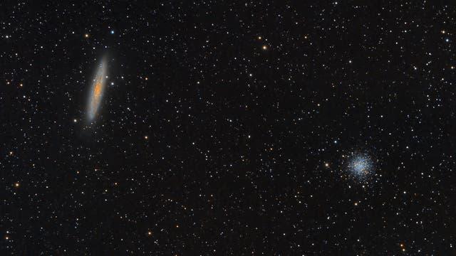 Sculptor-Galaxie (NGC 253) und Kugelsternhaufen NGC 288