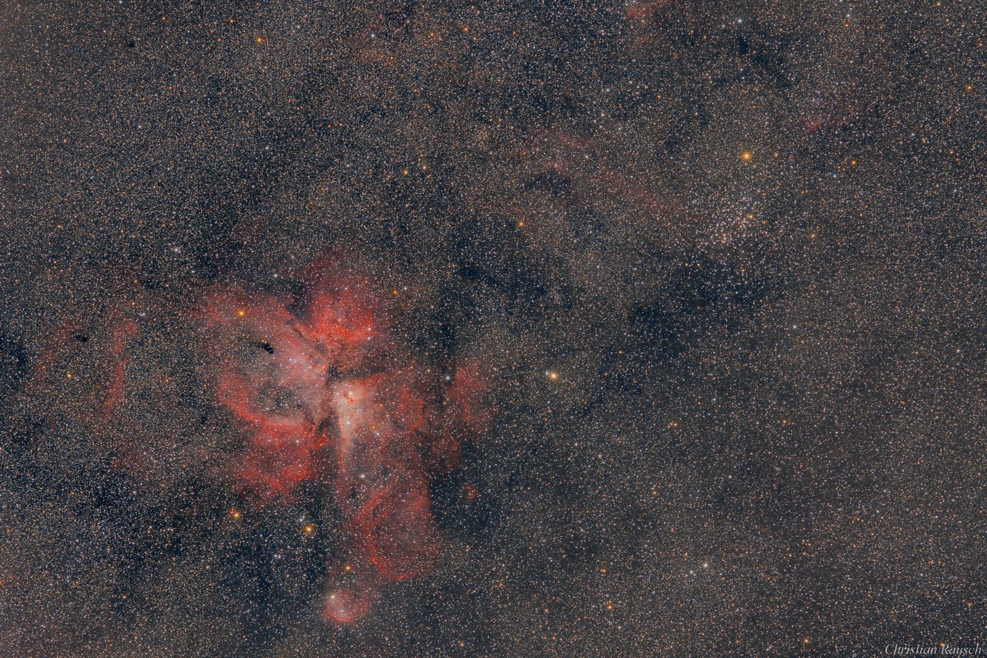 Carinanebel (NGC 3372) und Wishing Well Cluster (NGC 3532)
