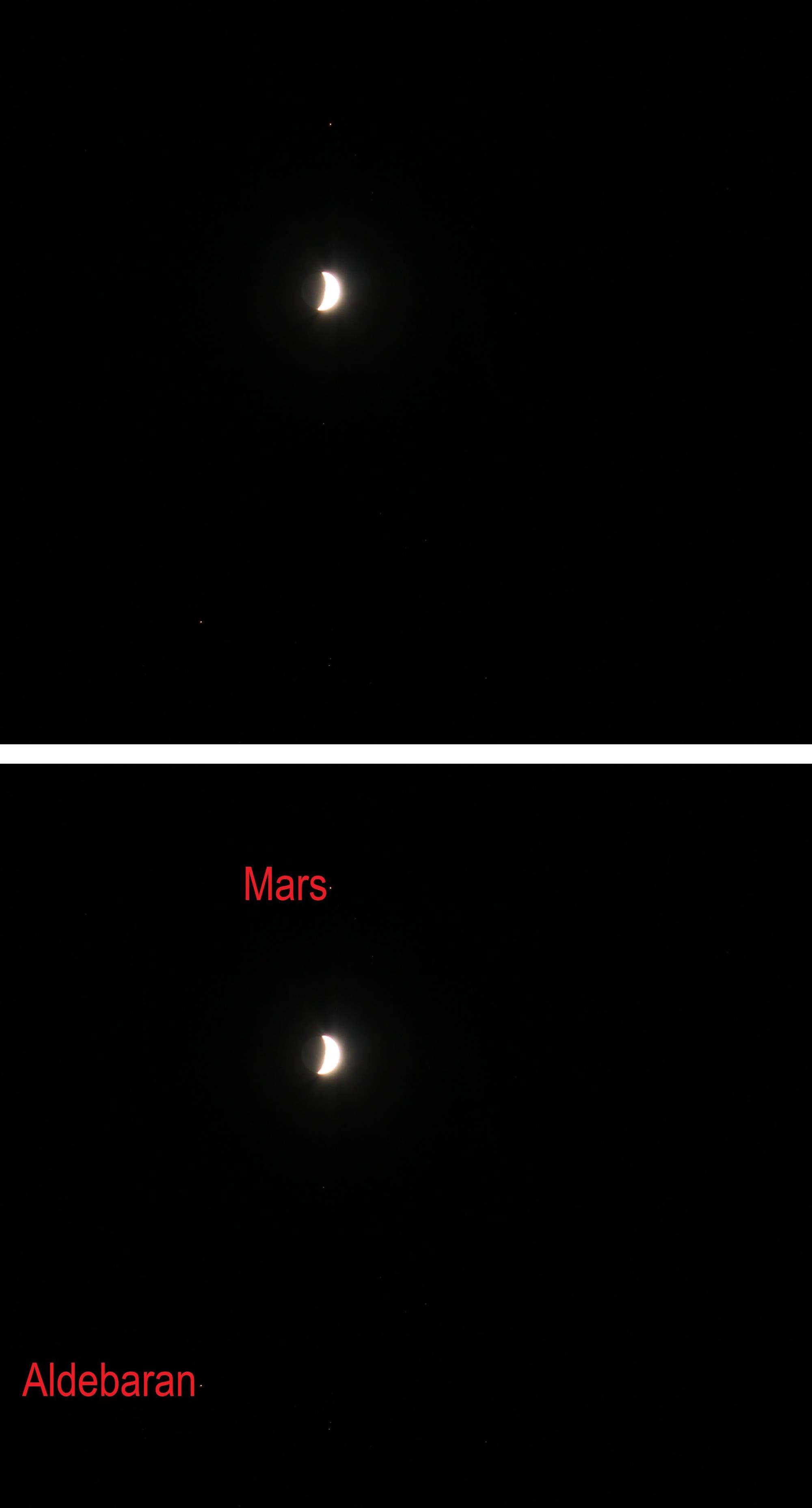 Mond zwischen Mars und Aldebaran