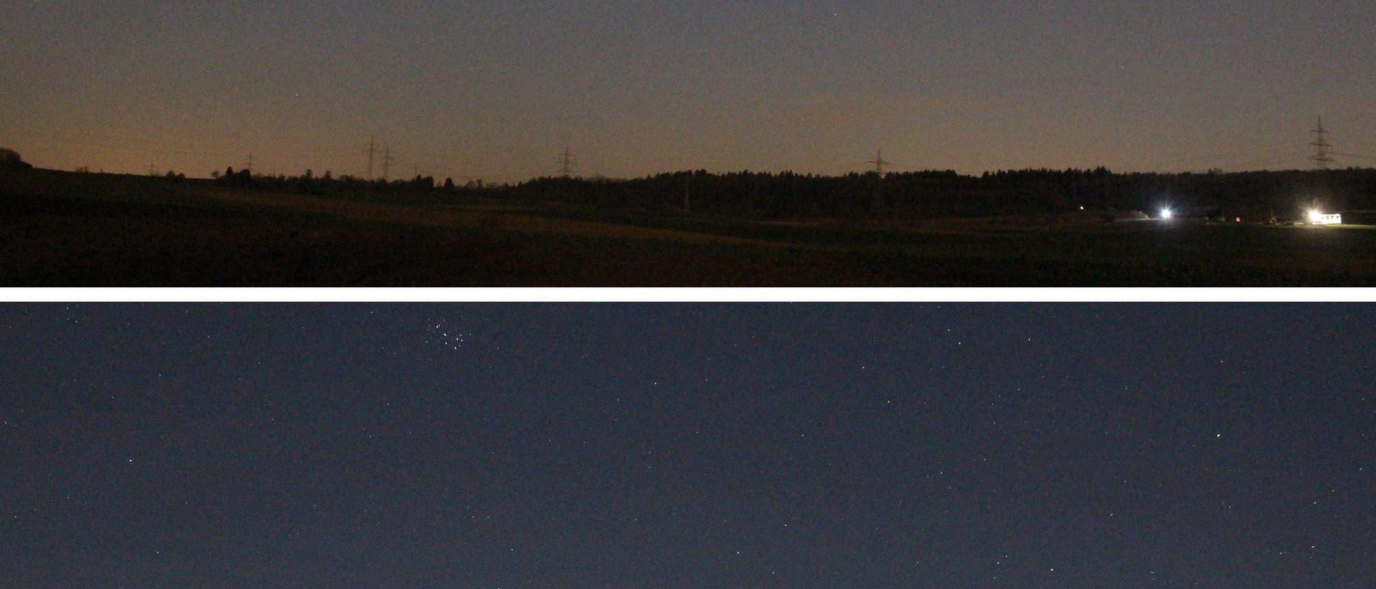 Sternbild Widder mit Uranus und ISS
