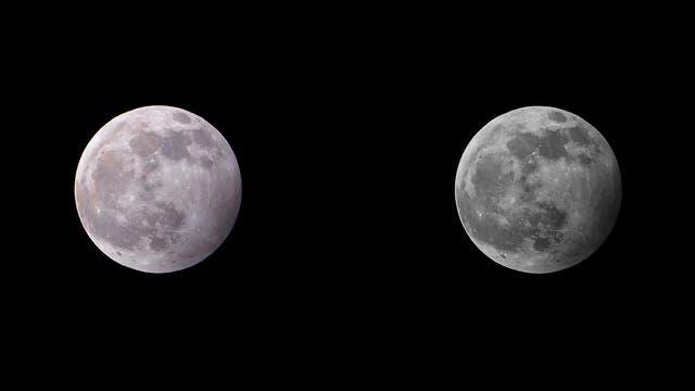 Eine Halbschatten-Mondfinsternis in zwei Ansichten
