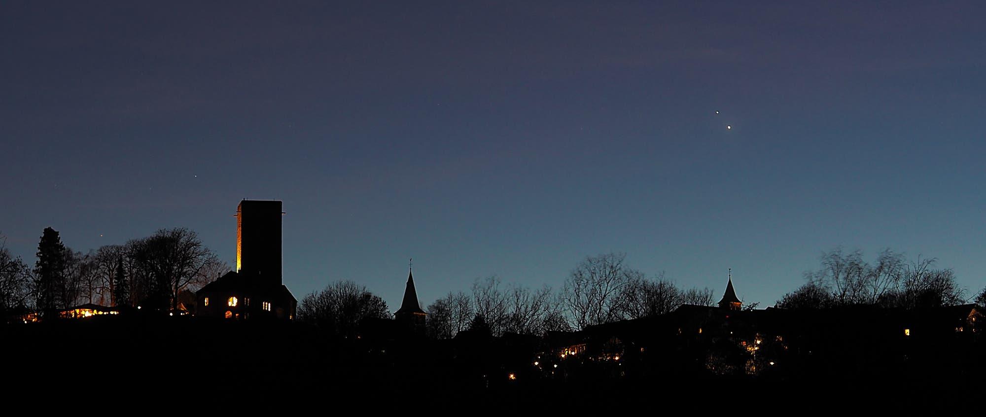 Jupiter und Saturn über der Burg Blankenstein