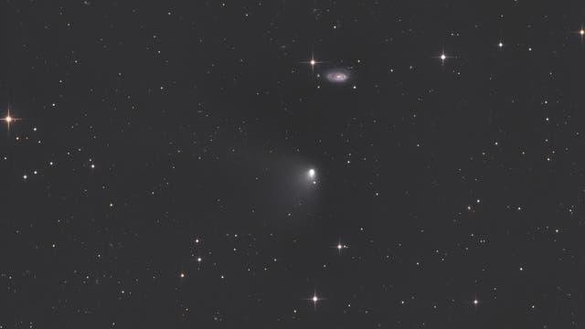 Komet C/2011 L4 (PANSTARRS) bei Galaxie NGC 5678